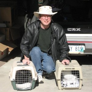 JPG Cats in cages with me in Morden driveway